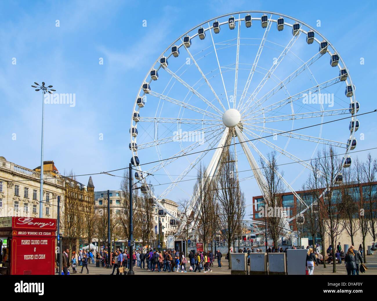 Das Rad der Manchester Piccadilly Gardens, Manchester, England, Vereinigtes Königreich Stockbild