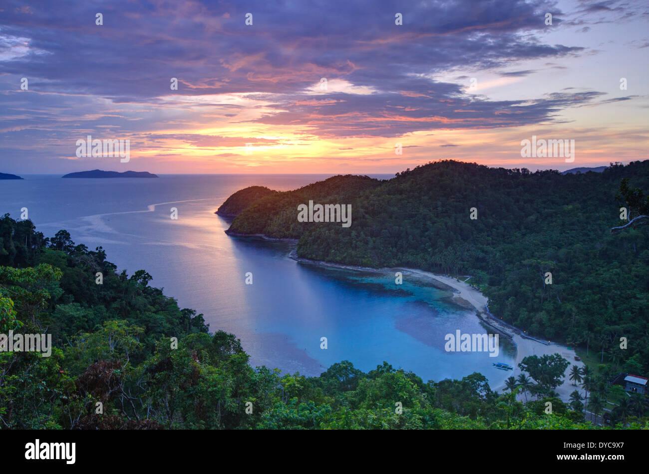 Philippinen, Palawan, Port Barton, Turtle Bay Stockbild