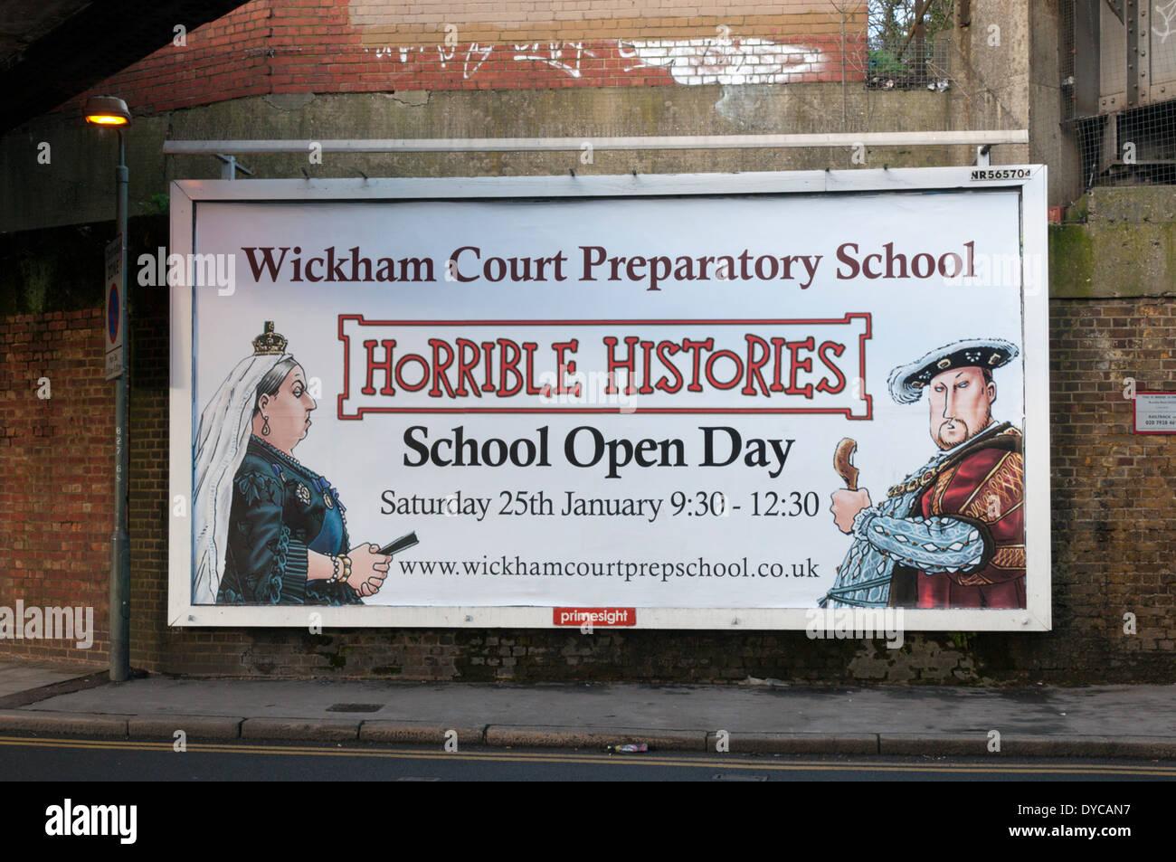 Schreckliche Geschichten Plakat zur Förderung einer Schule Tag der offenen Tür bei Wickham Court Preparatory School. Stockbild