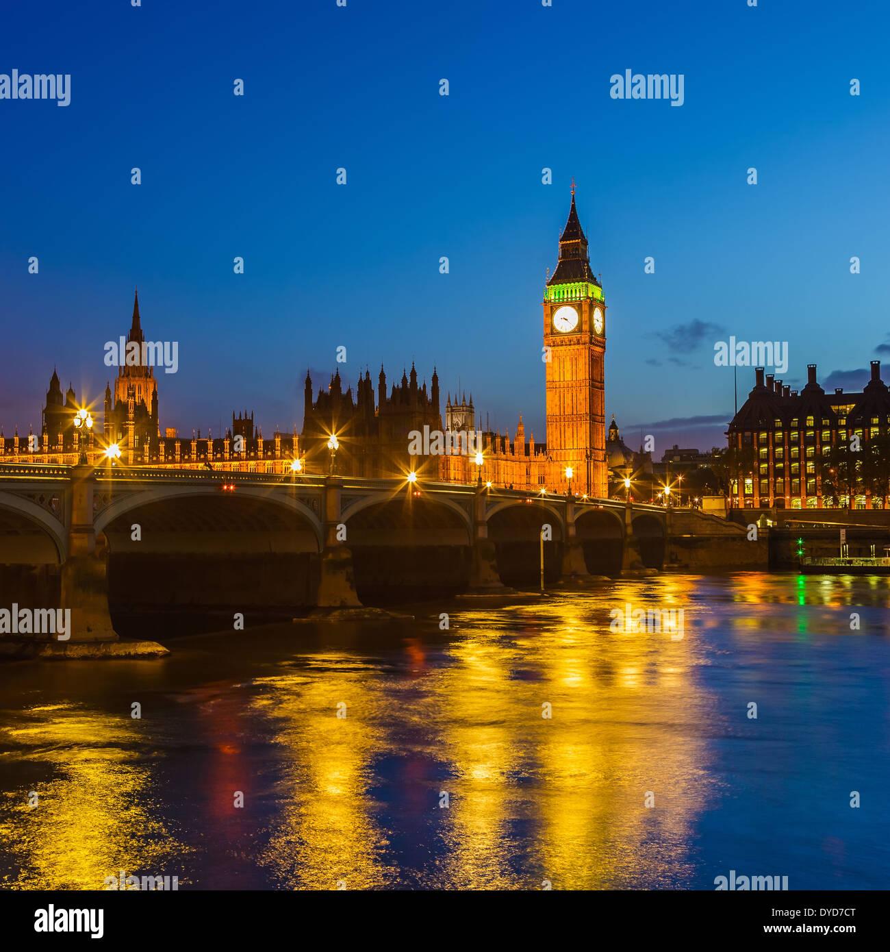 Big Ben in der Nacht, London Stockbild