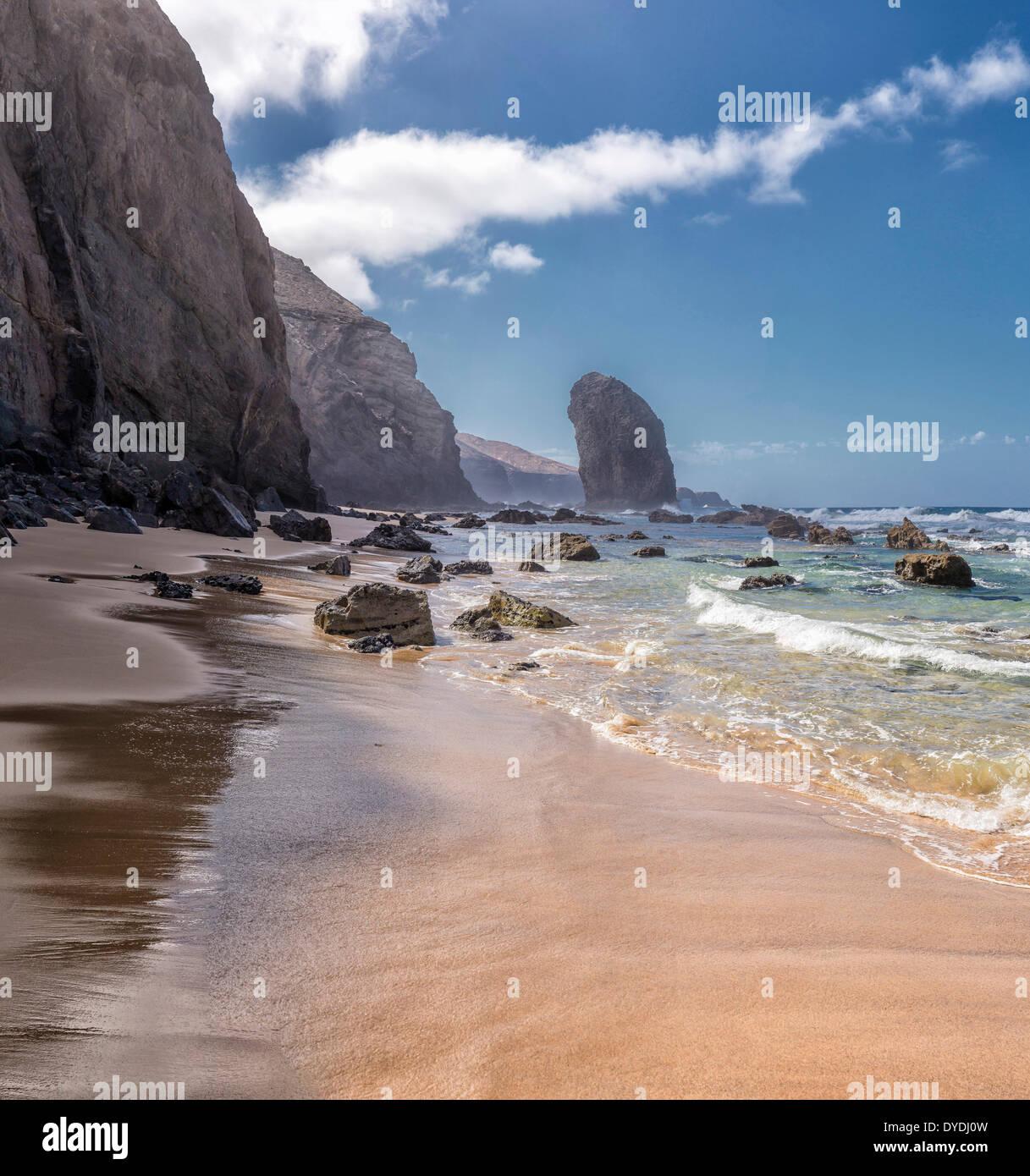 Spanien, Europa, Fuerteventura, Kanarische Inseln, Morro Jable, Playa Roque del Moro, Landschaft, Sommer, Meer, Stockbild