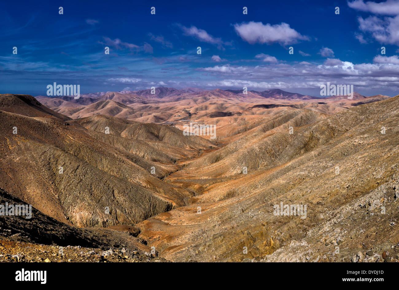 Spanien, Europa, Fuerteventura, Kanarische Inseln, La Pared, Pajara, anzeigen, Degollada del Viento, Landschaft, Berge, Wüste, Sommer Stockbild
