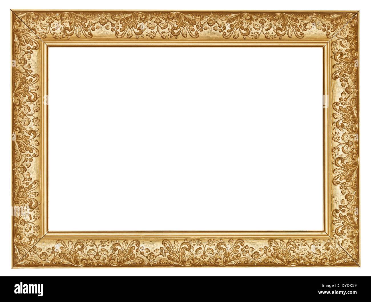 alten goldenen geschnitzten breit holz bilderrahmen mit ausgeschnittenen leinwand isoliert auf. Black Bedroom Furniture Sets. Home Design Ideas