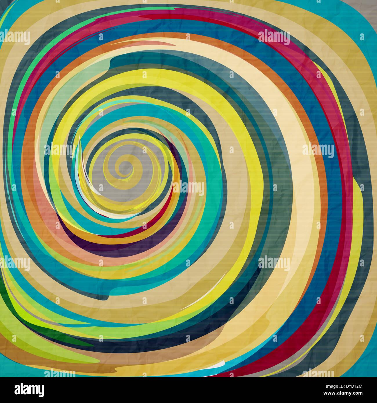 abstrakte Tapete mit bunten Wirbel auf strukturiertem Papier Stockbild