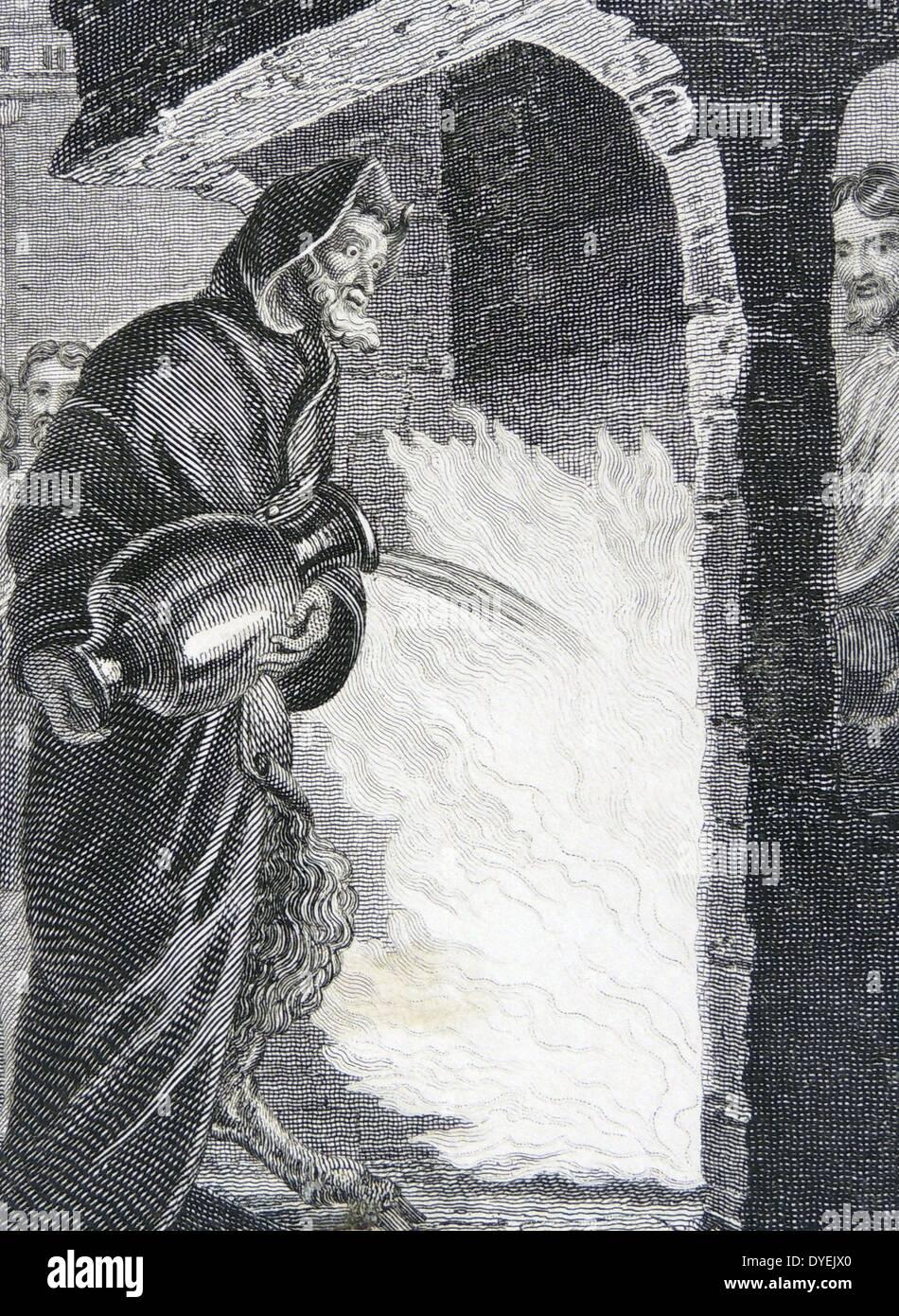 Der Teufel in Kapuzen Umhang, seine Hörner und gespaltene Hufe verbergen Stockbild