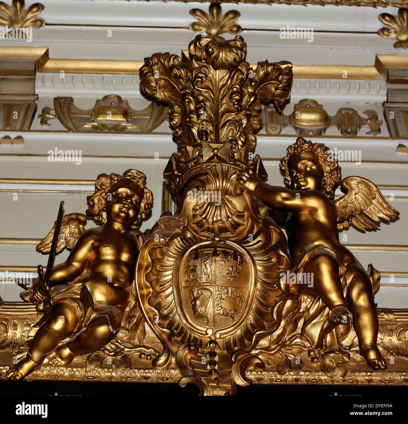 Barocke Bilderrahmen (Detail). Vergoldeter Rahmen für ein Gemälde im ...