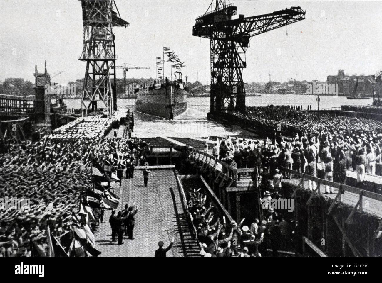 """Einführung des """"Graf Spee"""" im Jahre 1934. . Admiral Graf Spee war ein Deutschland-Klasse Kreuzer, Stockbild"""