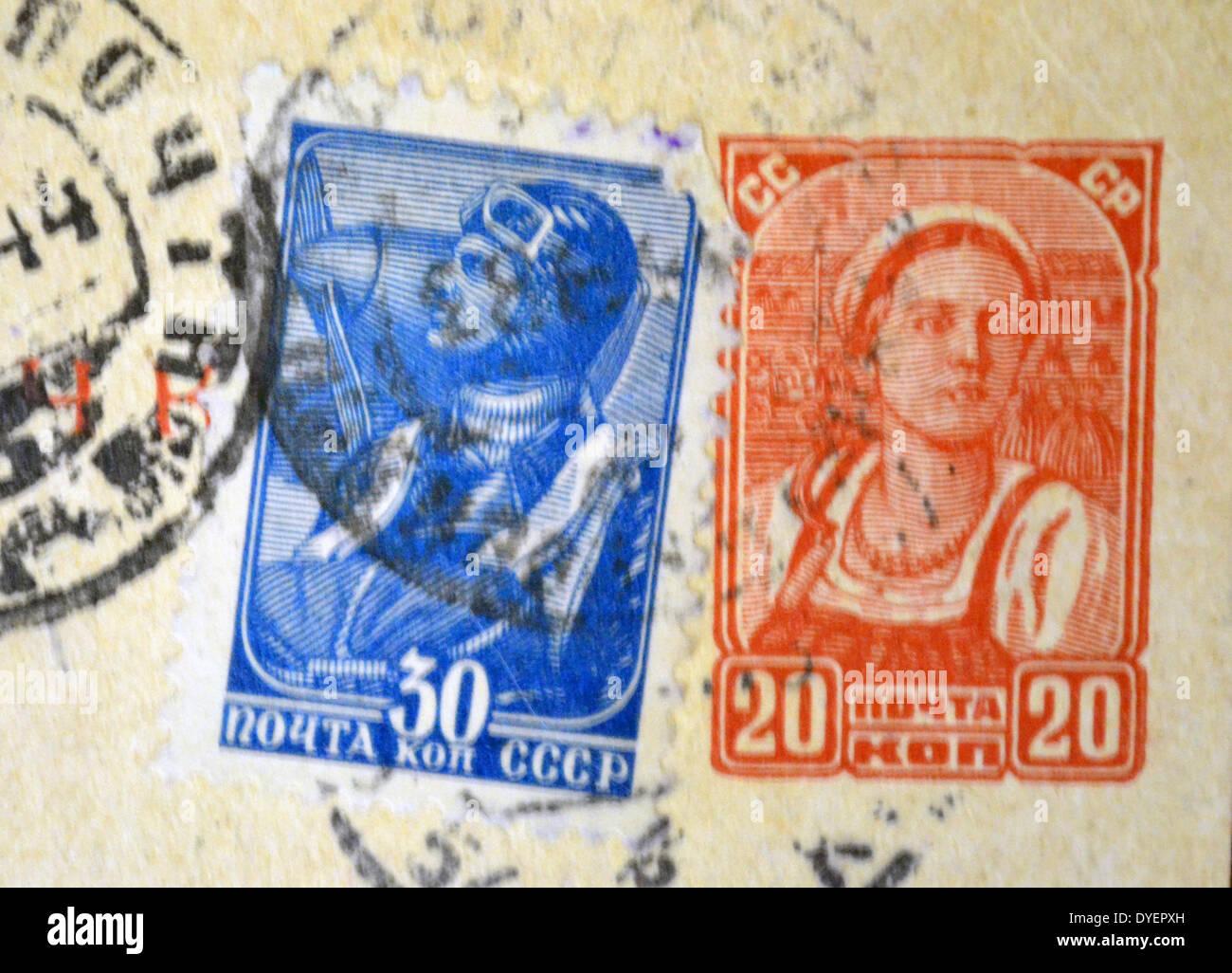 Sowjetischen Russischen Weltkrieg Zwei Briefmarken Von Einer