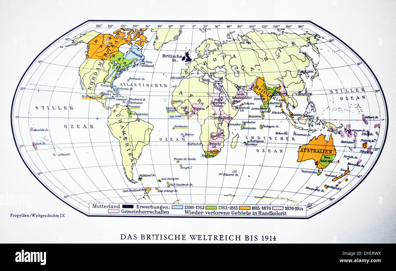 Britische Weltkarte 1914 Erster Weltkrieg Stockfoto Bild