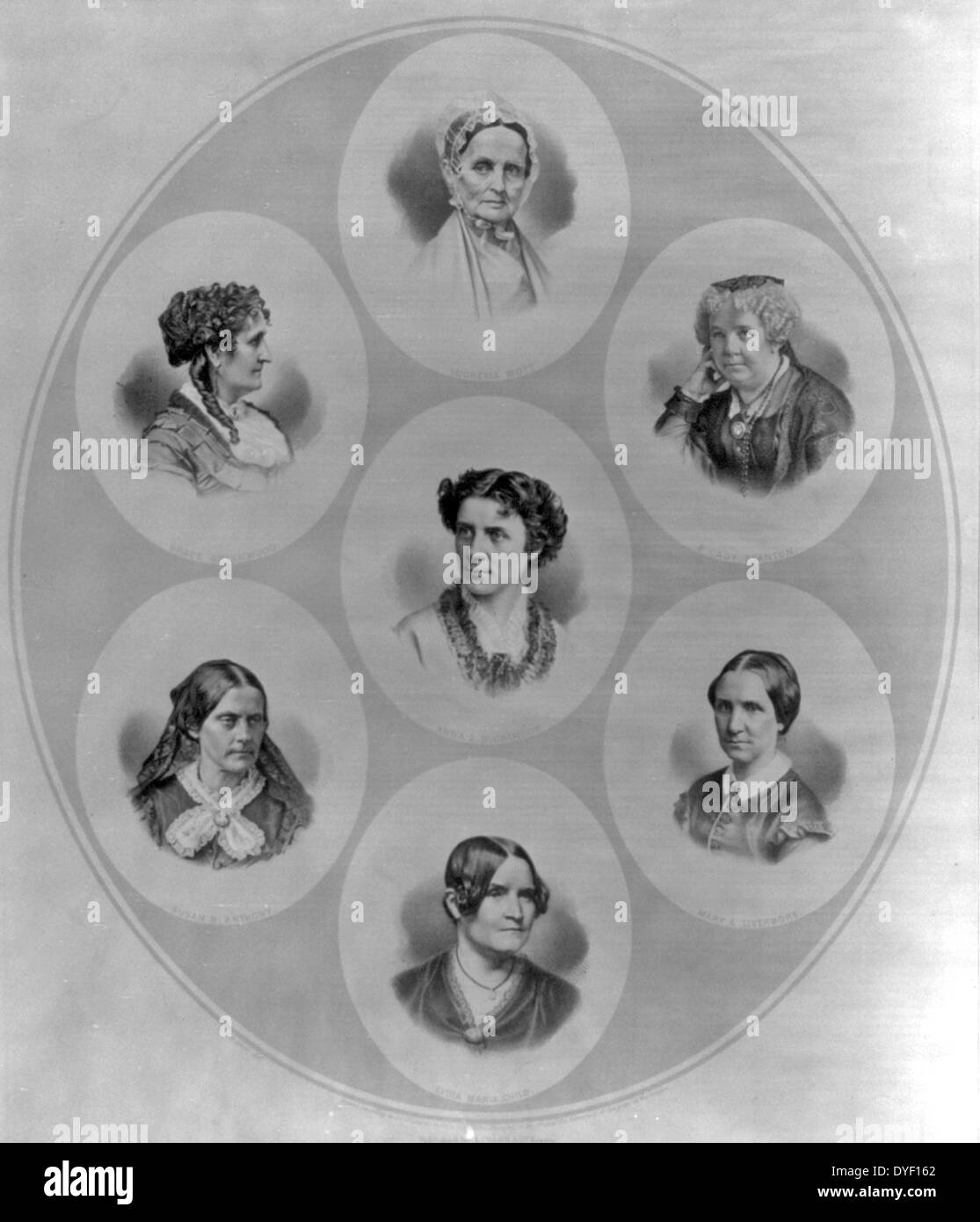 Portraits von sieben Persönlichkeiten der Wahlen und die Rechte der Frauen Bewegung. Stockbild