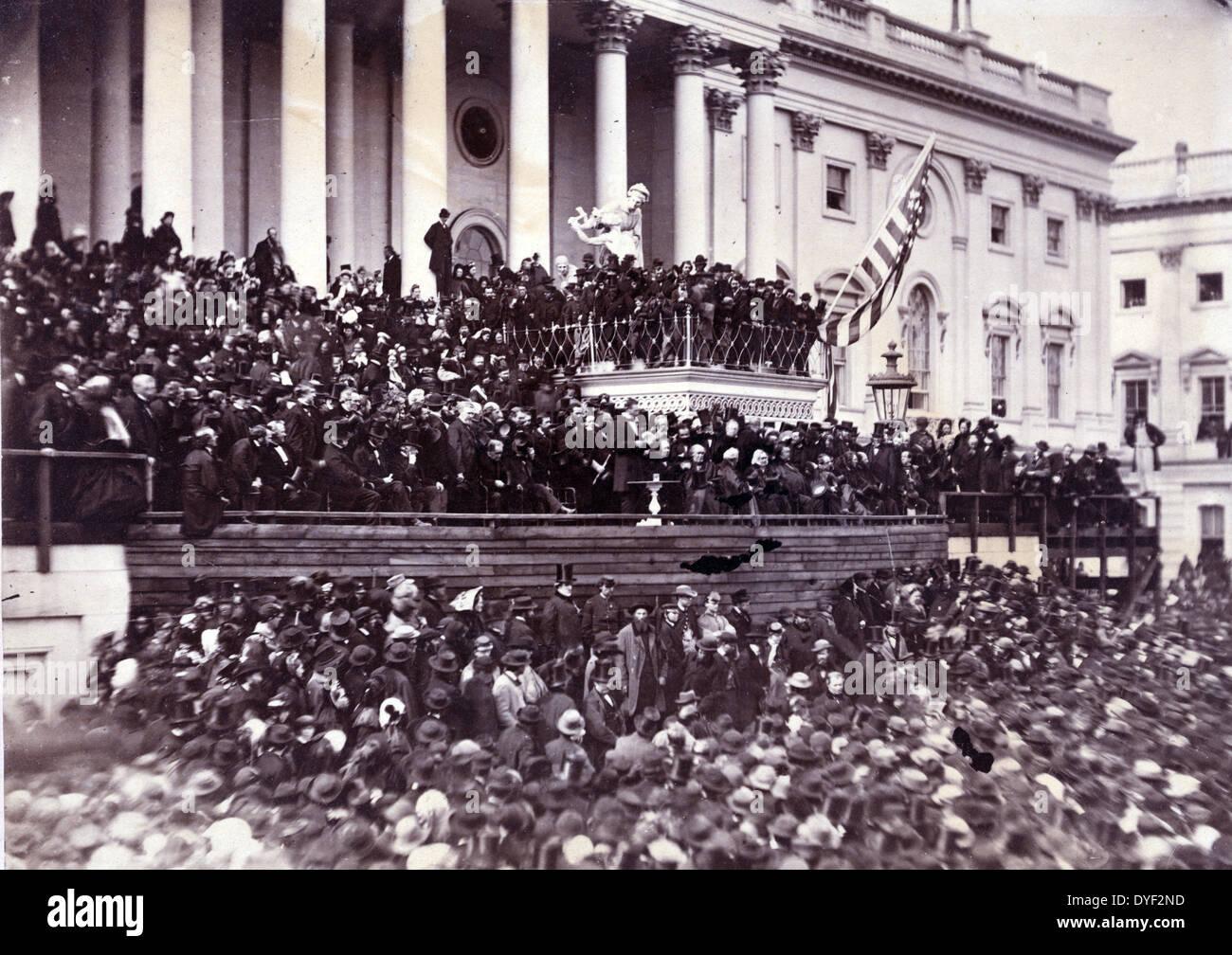 Abraham Lincoln seine zweite Antrittsrede als Präsident der Vereinigten Staaten, Washington, D.C. 1865. Foto zeigt Stockfoto