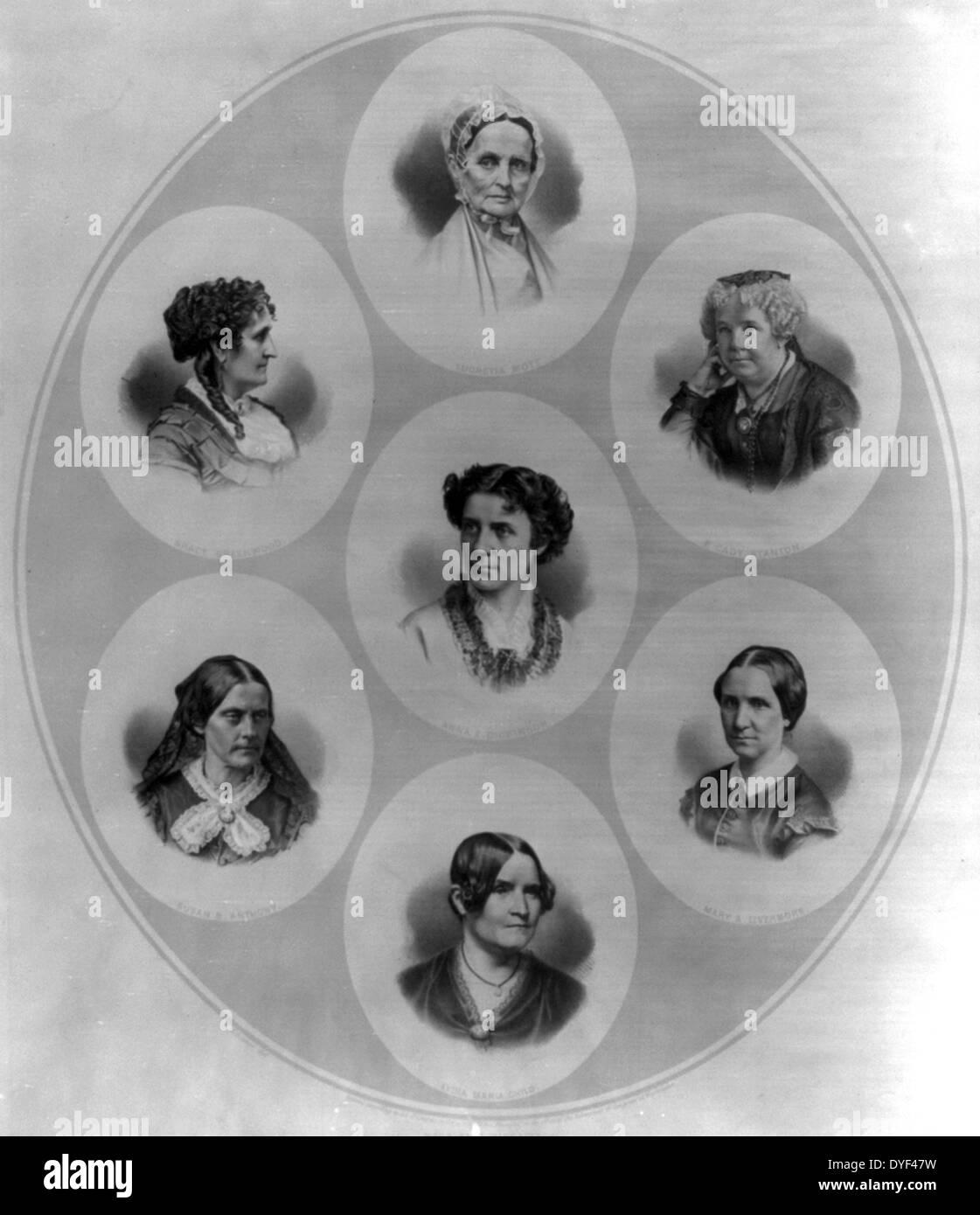 Kopf und Schulter Portraits von sieben Persönlichkeiten der Wahlen und die Rechte der Frauen Bewegung. Stockbild