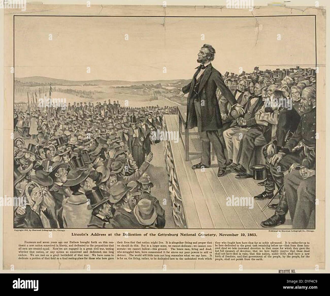 Der Gettysburg Address 1863. Präsident Abraham Lincoln die Bereitstellung der Gettysburg Address. Stockfoto
