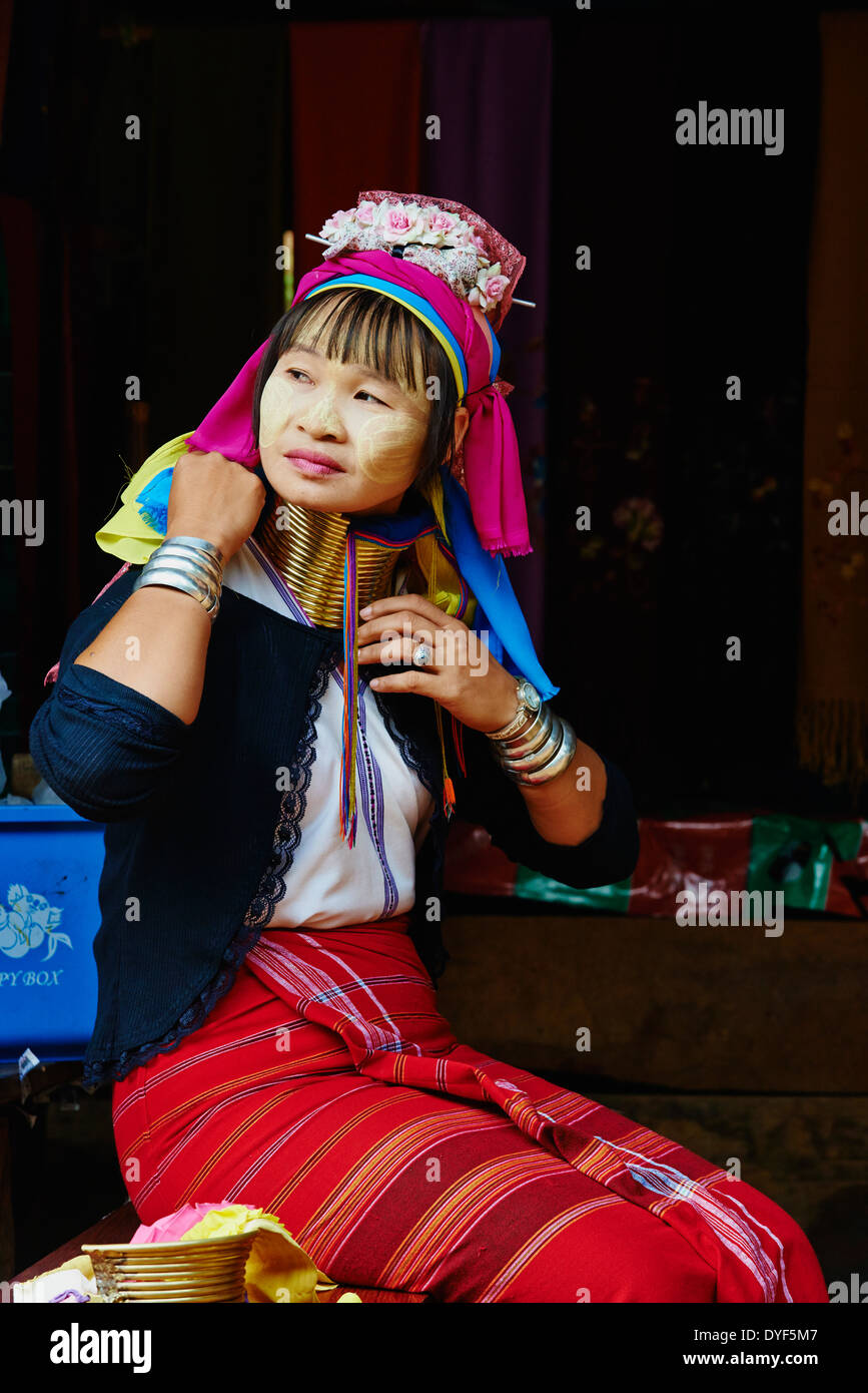 Thailand, Mae Hong Son, Langhals Mädchen, Giraffe Mädchen, Padaung Mädchen Stockfoto