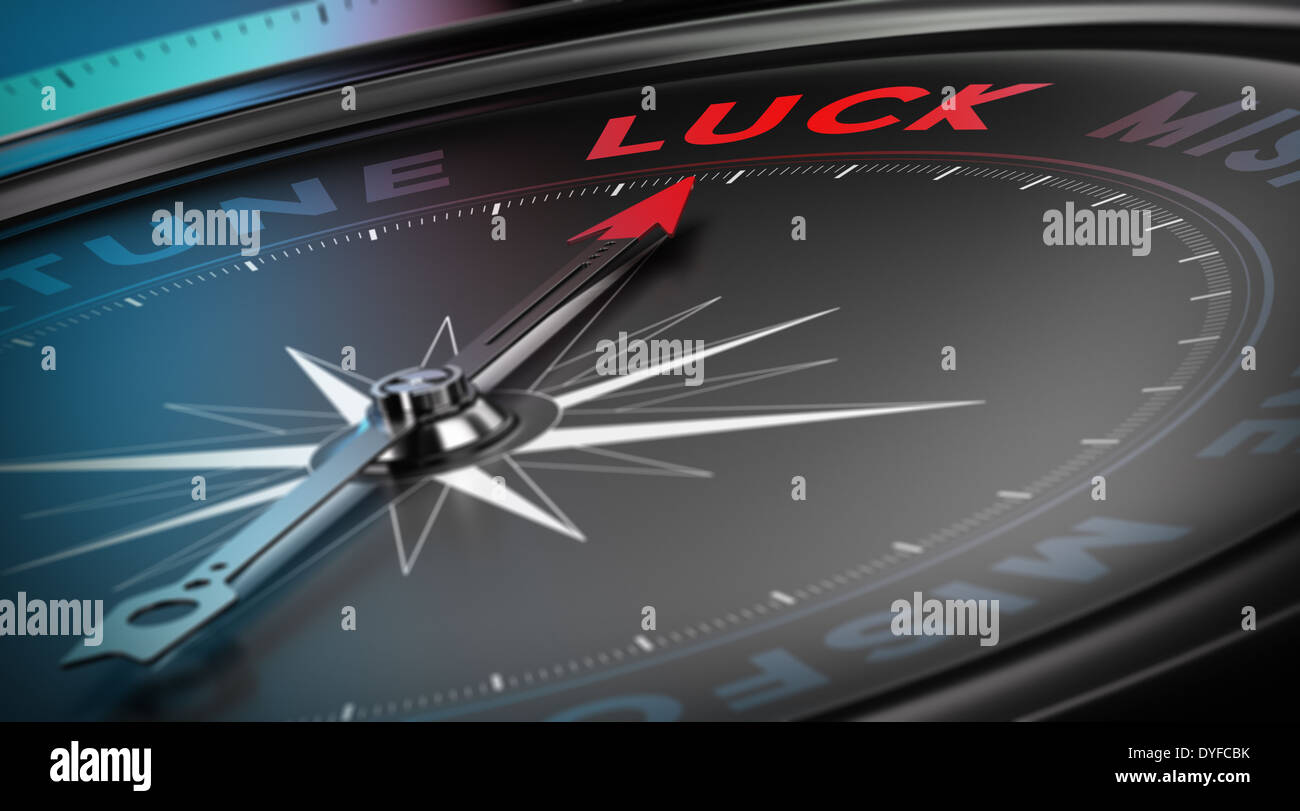 Lucky Konzept, Kompass Nadel nach dem Wort Glück über schwarzen Hintergrund, blur Effekt Stockbild