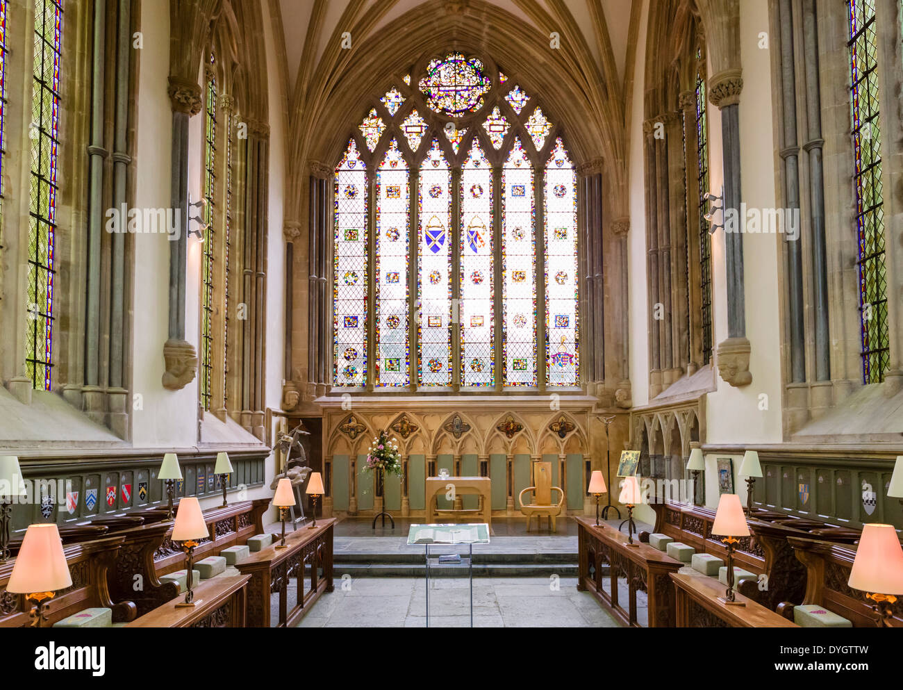 Der Bischof-Kapelle in der Bischöflichen Palast, Wells, Somerset, England, UK Stockfoto