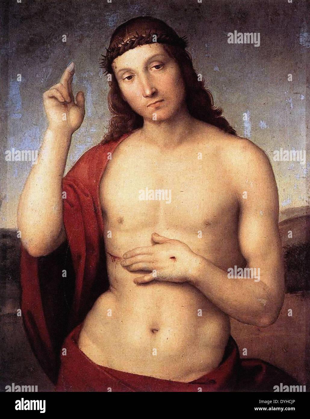 Raphael Christus segnet Stockbild