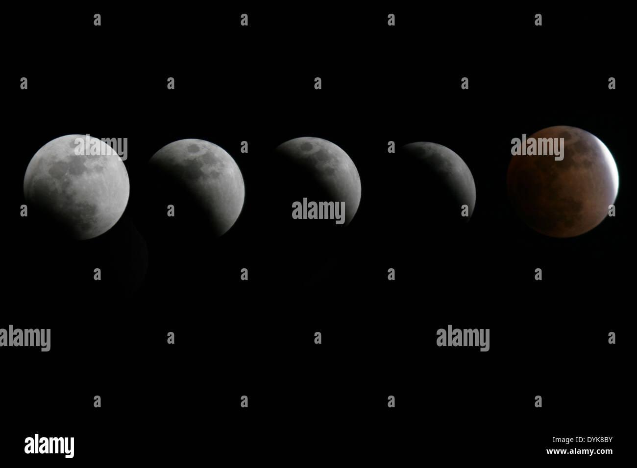 Mondfinsternis im Laufe der Zeit Stockbild