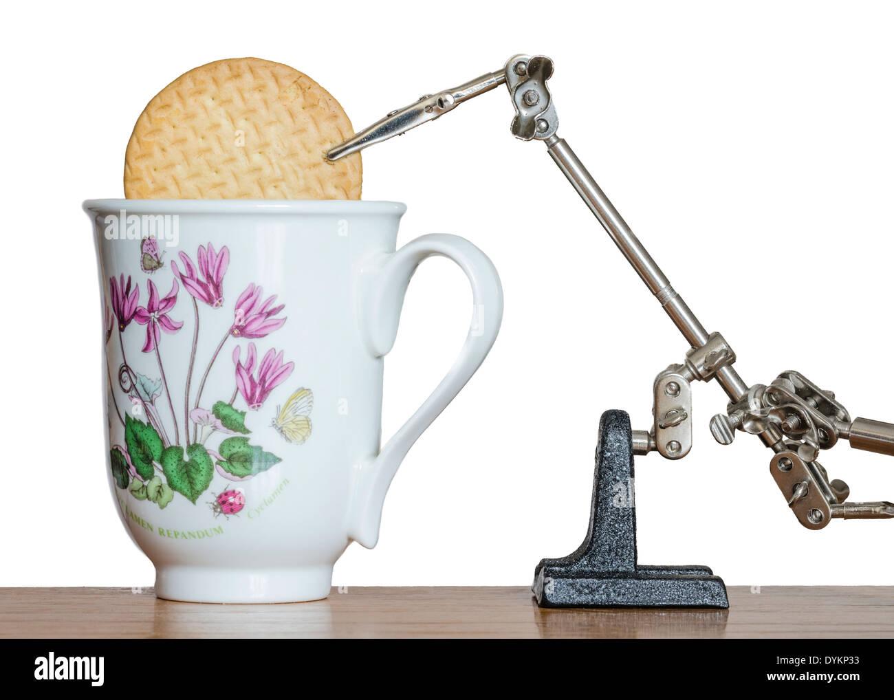 Abstrakte Keks dunking Roboter. Obskure Maschine. Konzeptionelle Kunst zeitgenössische Kunst. sinnlose Erfindung. Stockfoto