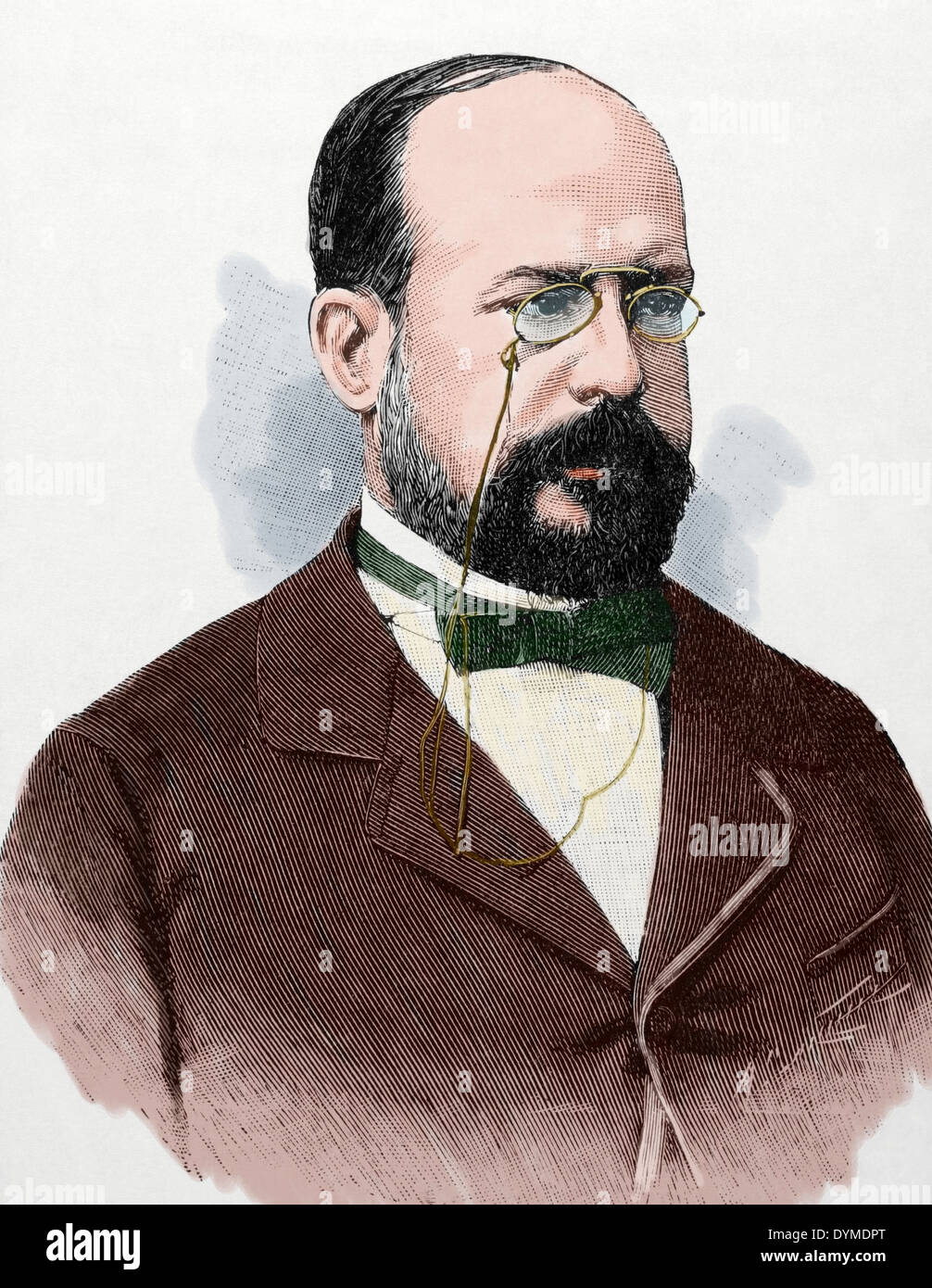 Eduardo Leon y Ortiz (19. Jahrhundert). Spanisch-Professorin an der Fakultät der Universidad Central. Farbige Stockbild