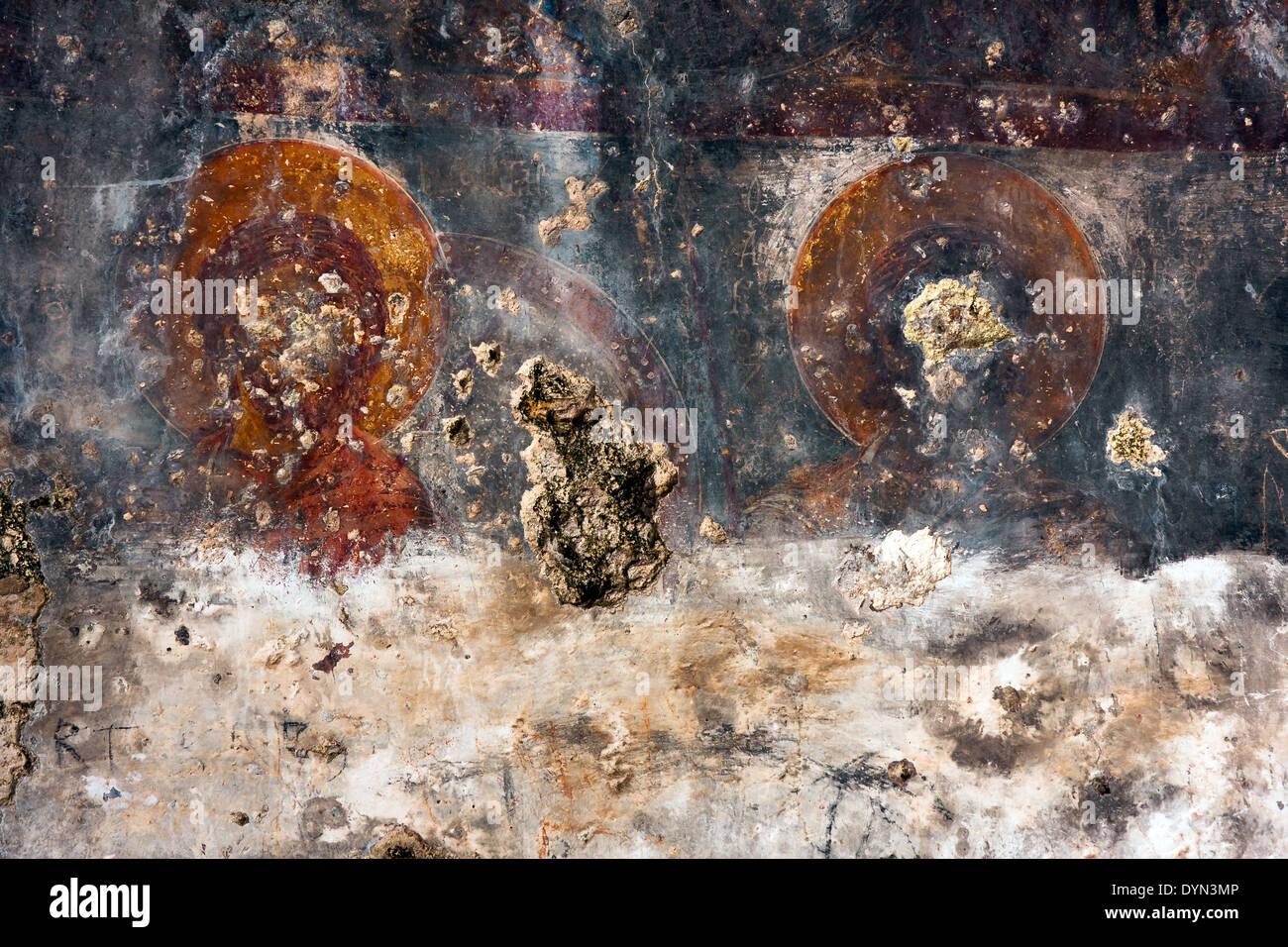 Fresken, die die Leben der Heiligen, Kayakoy Stockbild