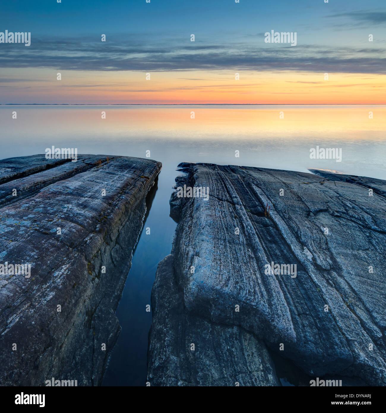 See Vänern bei Sonnenuntergang, Djurö National park Stockbild