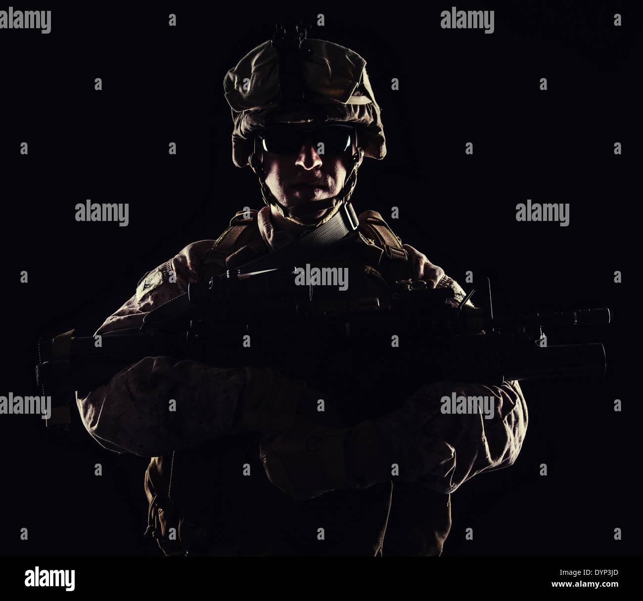 US marine Kontur Studio gedreht auf schwarzem Hintergrund Stockbild