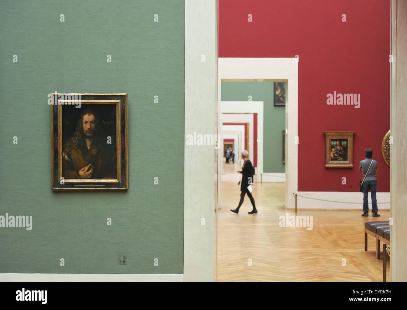 Ein Gemälde von Albrecht Duerer in der alten Pinakothek in München, 2012 Stockbild