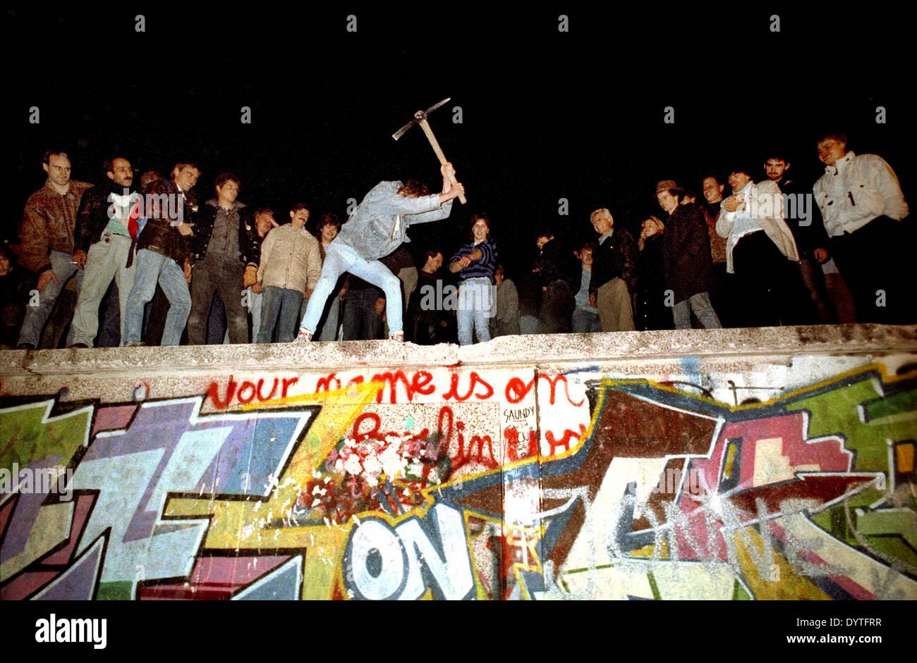Fall der Berliner Mauer, 1989 Stockbild
