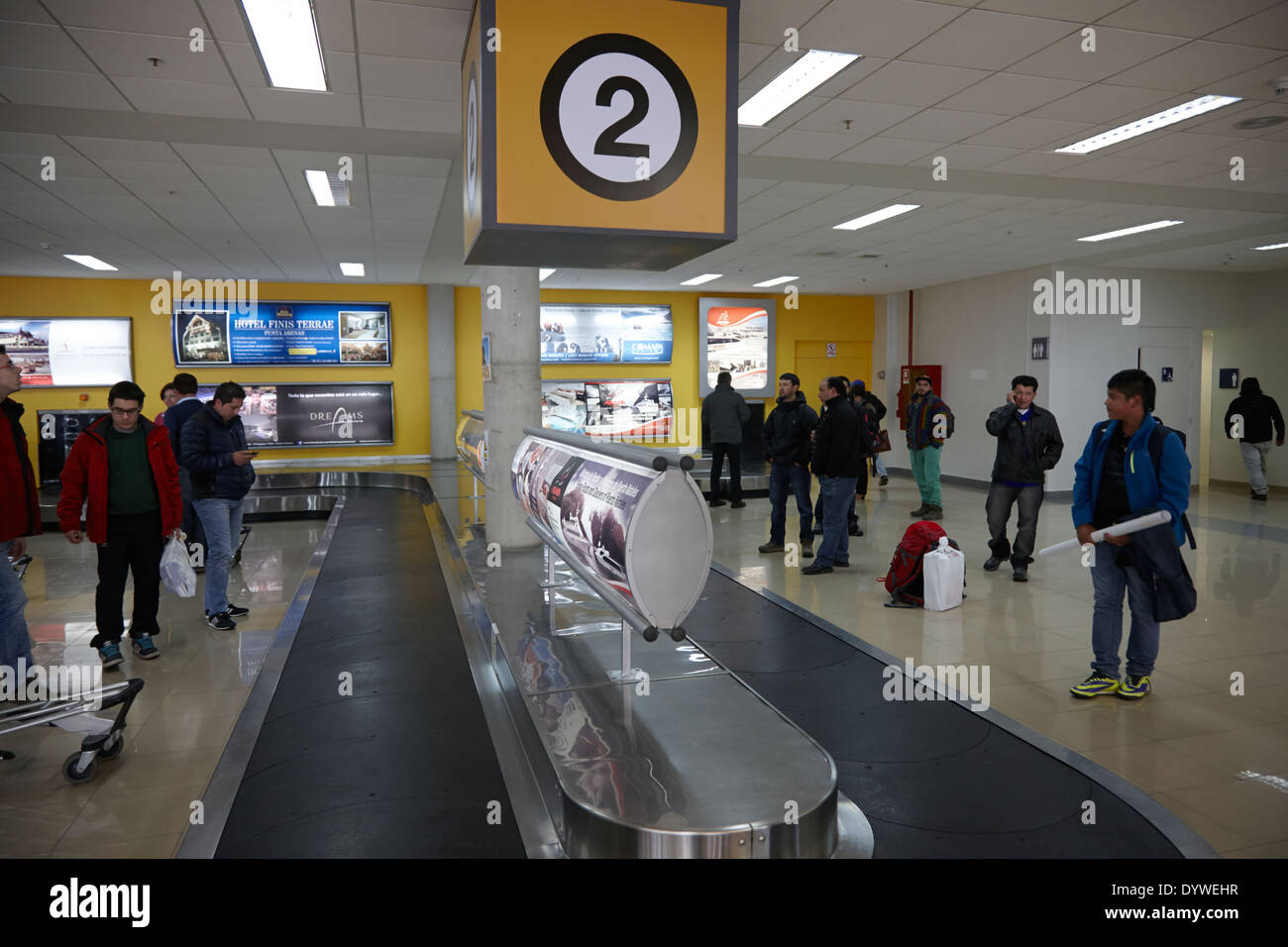 Gepäckband Flughafen Presidente Carlos Ibanez del Campo international Punta Arenas Chile Stockbild