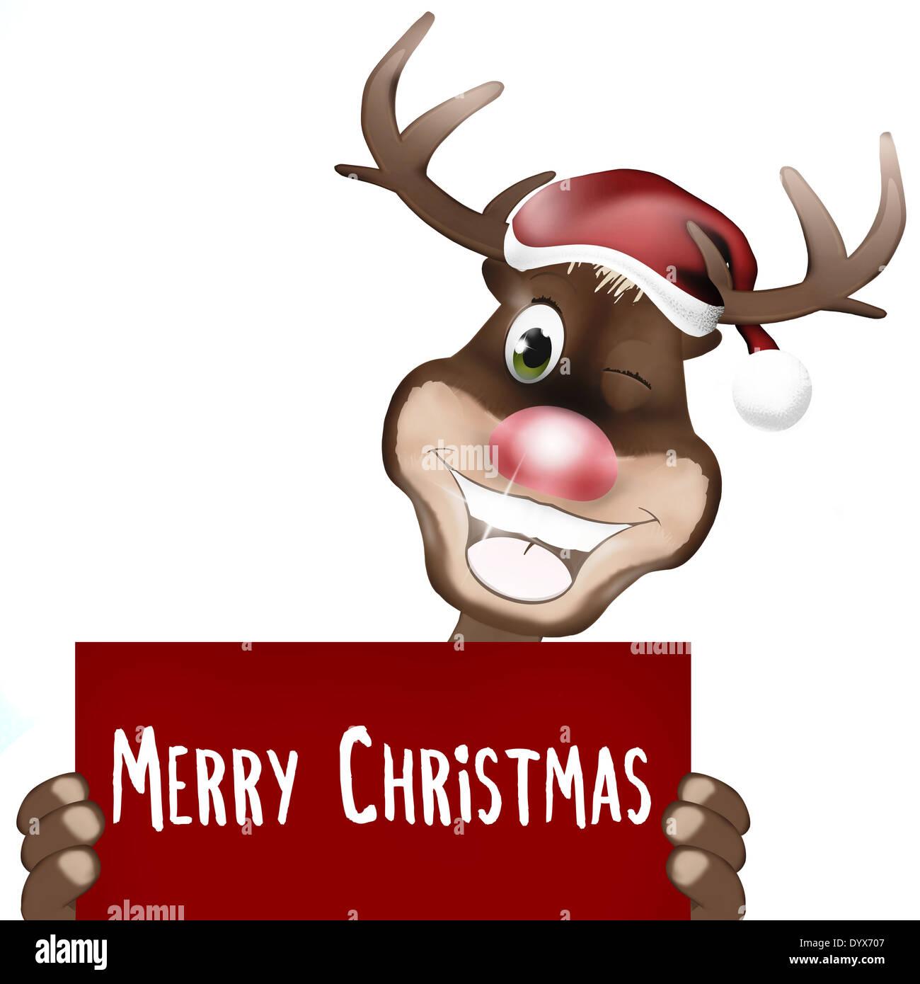 Rudolph Red Nose Frohe Weihnachten Stockfoto, Bild: 68803063 - Alamy