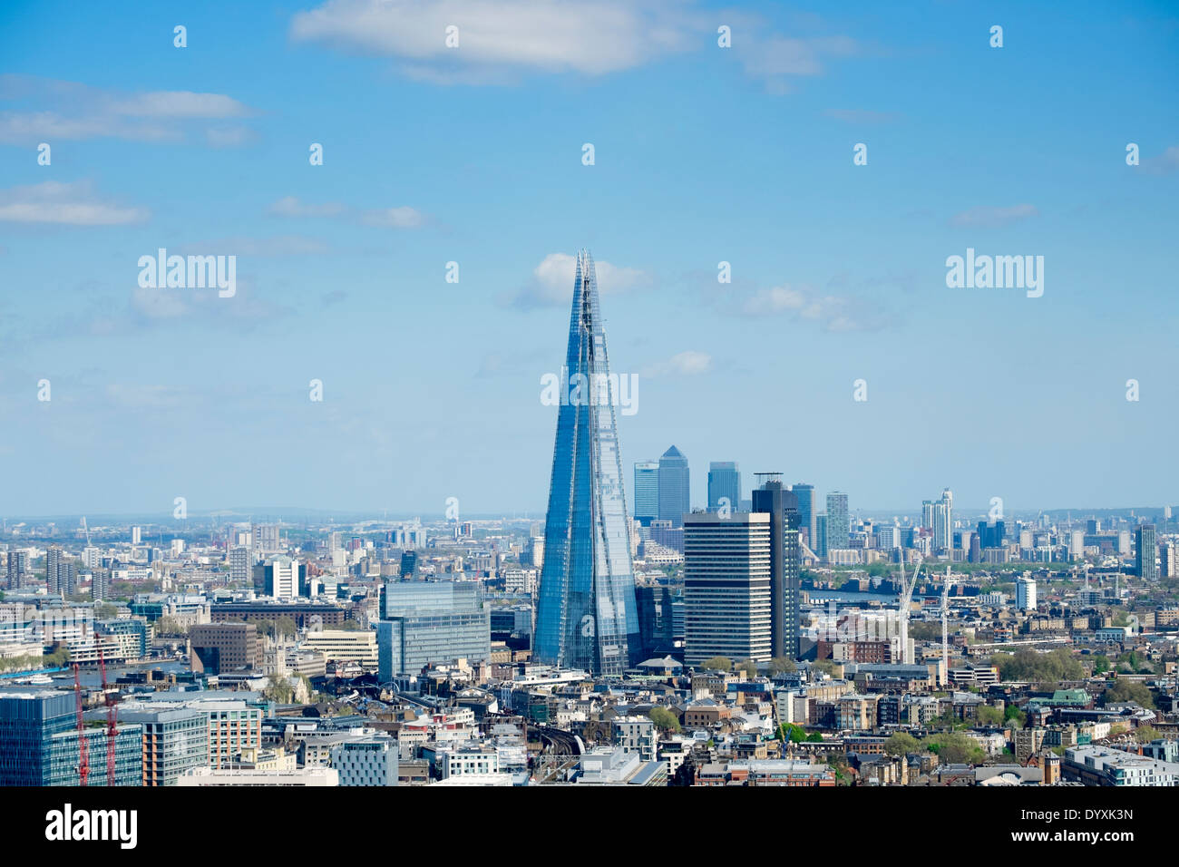 Blick auf The Shard neue Wolkenkratzer und die Skyline von London Vereinigtes Königreich Stockbild