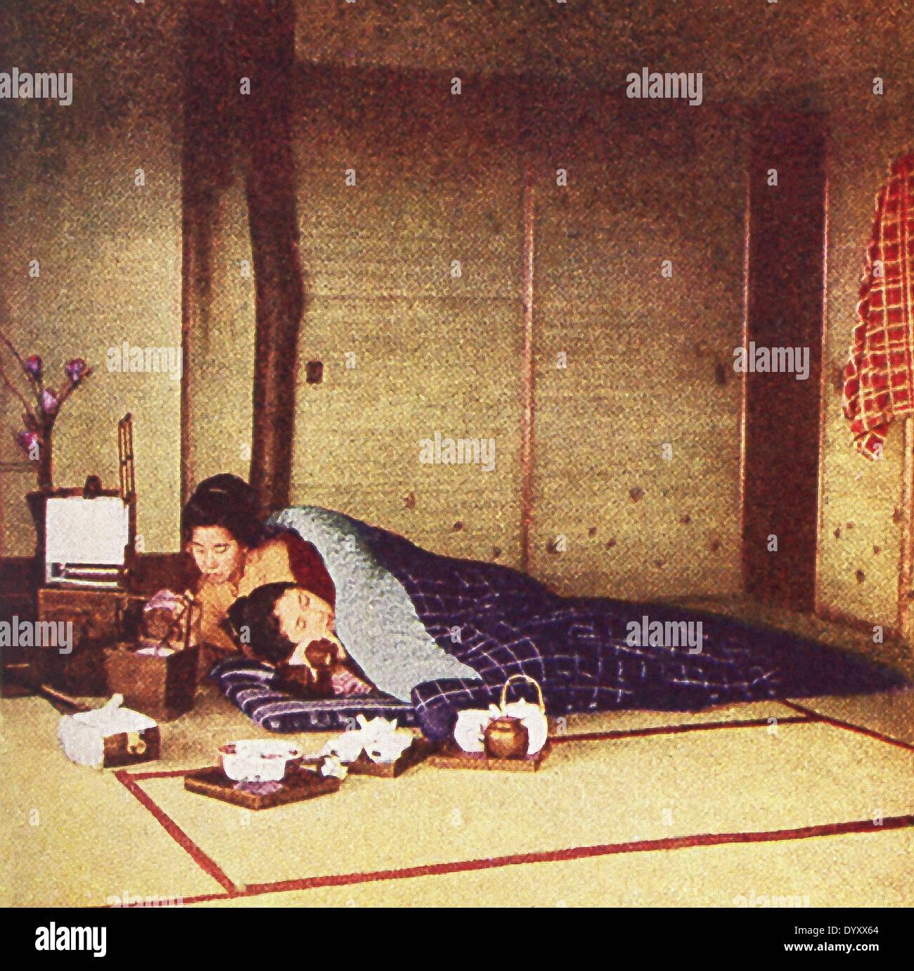 Diese Szene In Japan Bis 1909 Und Zeigt Ein Japanisches Bett Und Ein