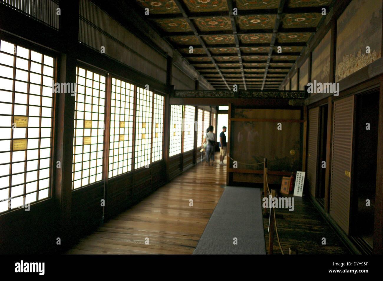 """""""Nachtigall Etagen (Uguisubari) in den Gängen die Nijo Burg Ninomaru Palace. Stockbild"""