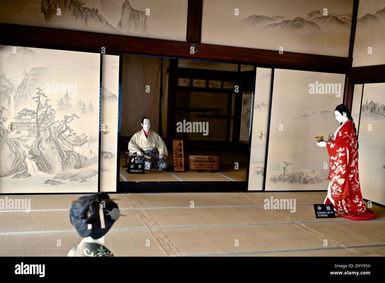 """""""Nachtigall Etagen (Uguisubari) in den Gängen die Nijo Burg Ninomaru Palace Stockbild"""
