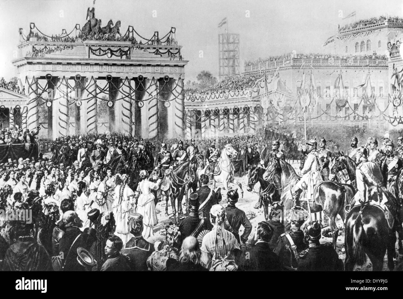 brandenburger tor nach franco preussischer krieg berlin 1871 stockfoto bild 68837288 alamy. Black Bedroom Furniture Sets. Home Design Ideas