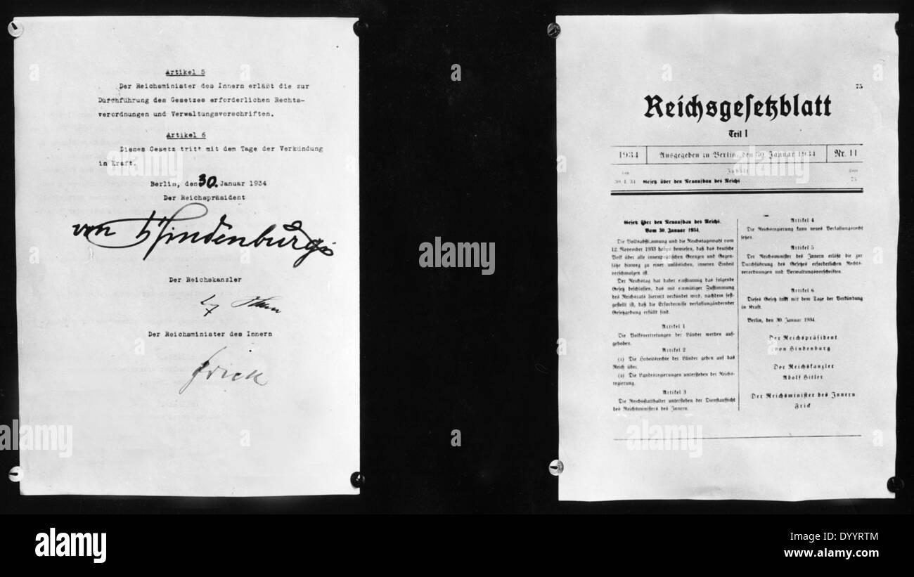Das Gesetz für den Wiederaufbau des Reiches, 1934 Stockbild