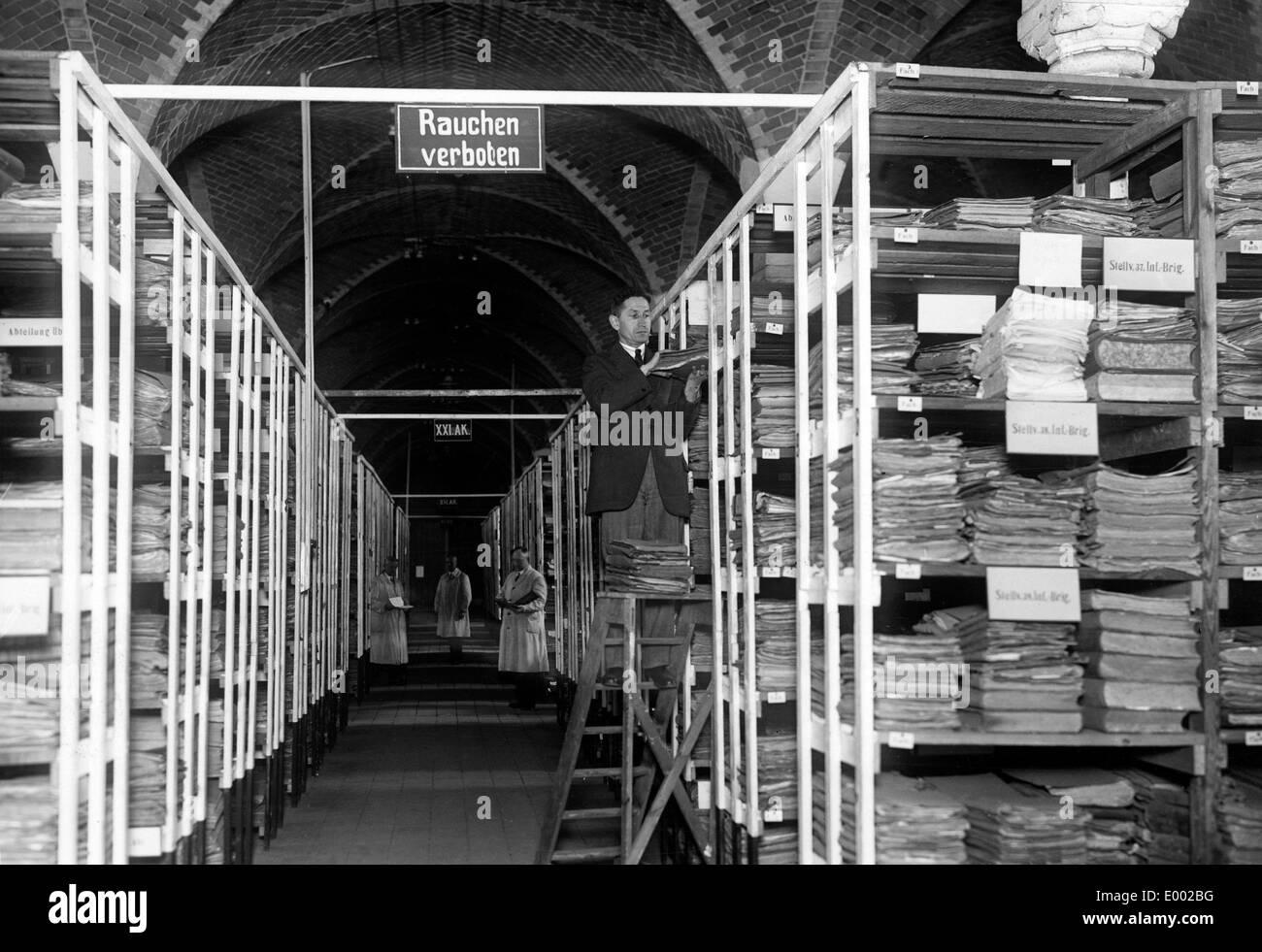 Archiv für Dateien der Kriegsopfer während des ersten Weltkrieges Stockbild