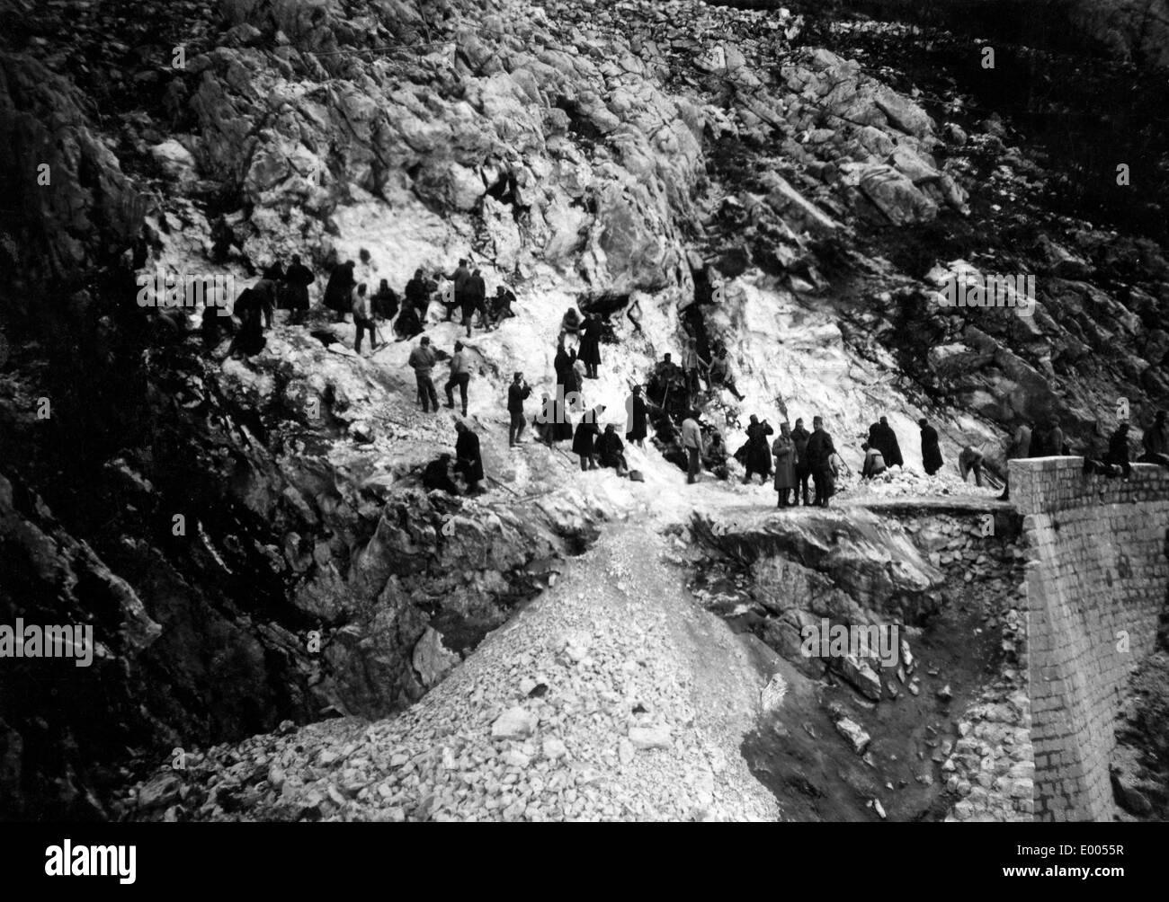 Umbauarbeiten am Mount Lovcen, 1916 Stockbild