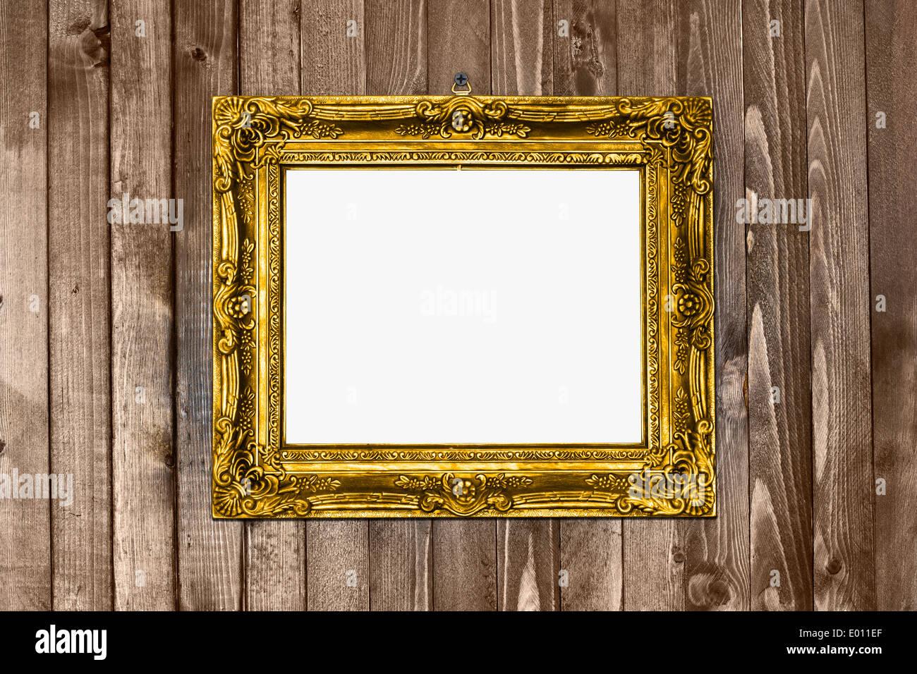Antike Textur gold Rahmen Holz Wand Muster hängen Stockfoto, Bild ...