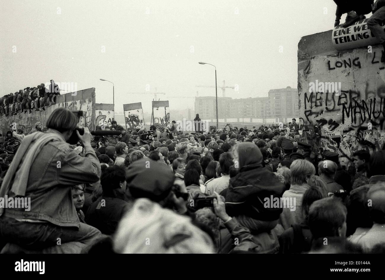 Fall der Mauer am Potsdamer Platz in Berlin Stockbild