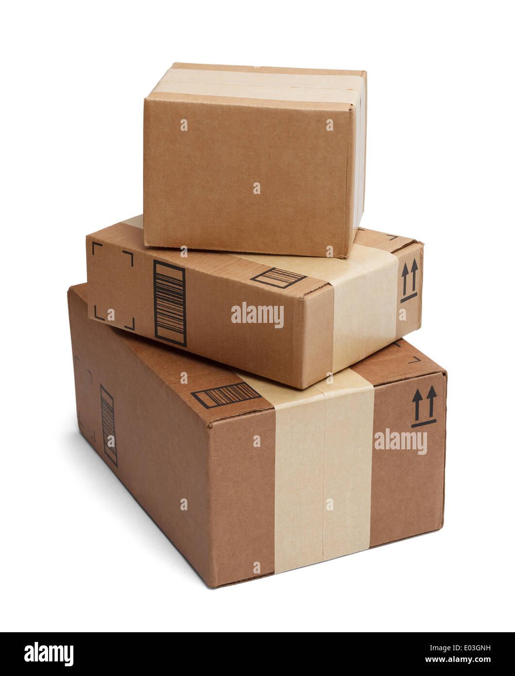 Drei Kisten gestapelt hoch isolierten auf weißen Hintergrund. Stockbild