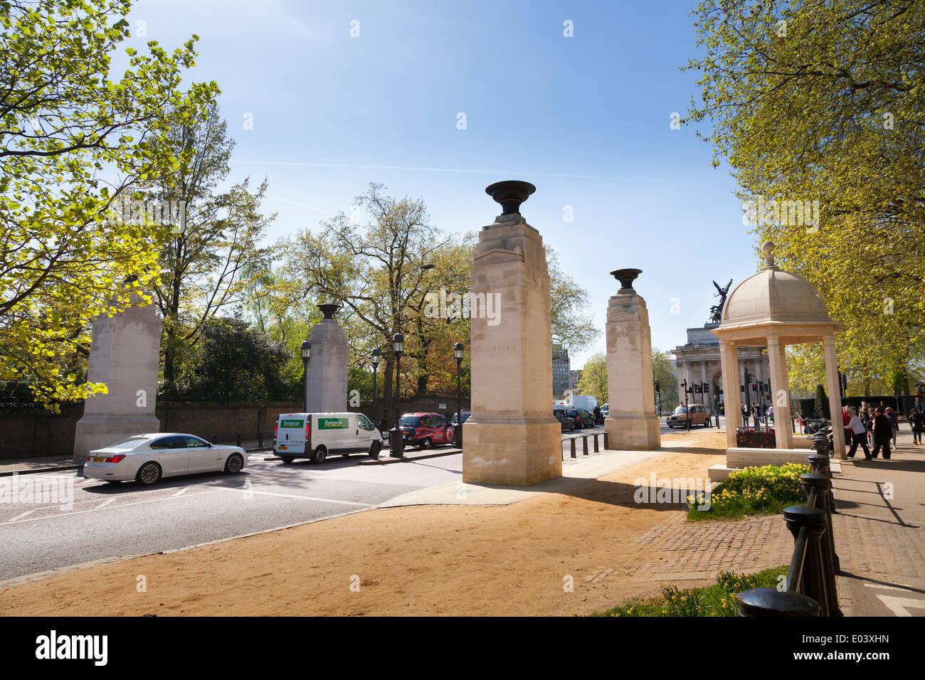Memorial Gates am Ende des Constitution Hill Gedenken der Streitkräfte des britischen Empire aus Afrika, der Karibik und dem indischen Subkontinent. Stockbild