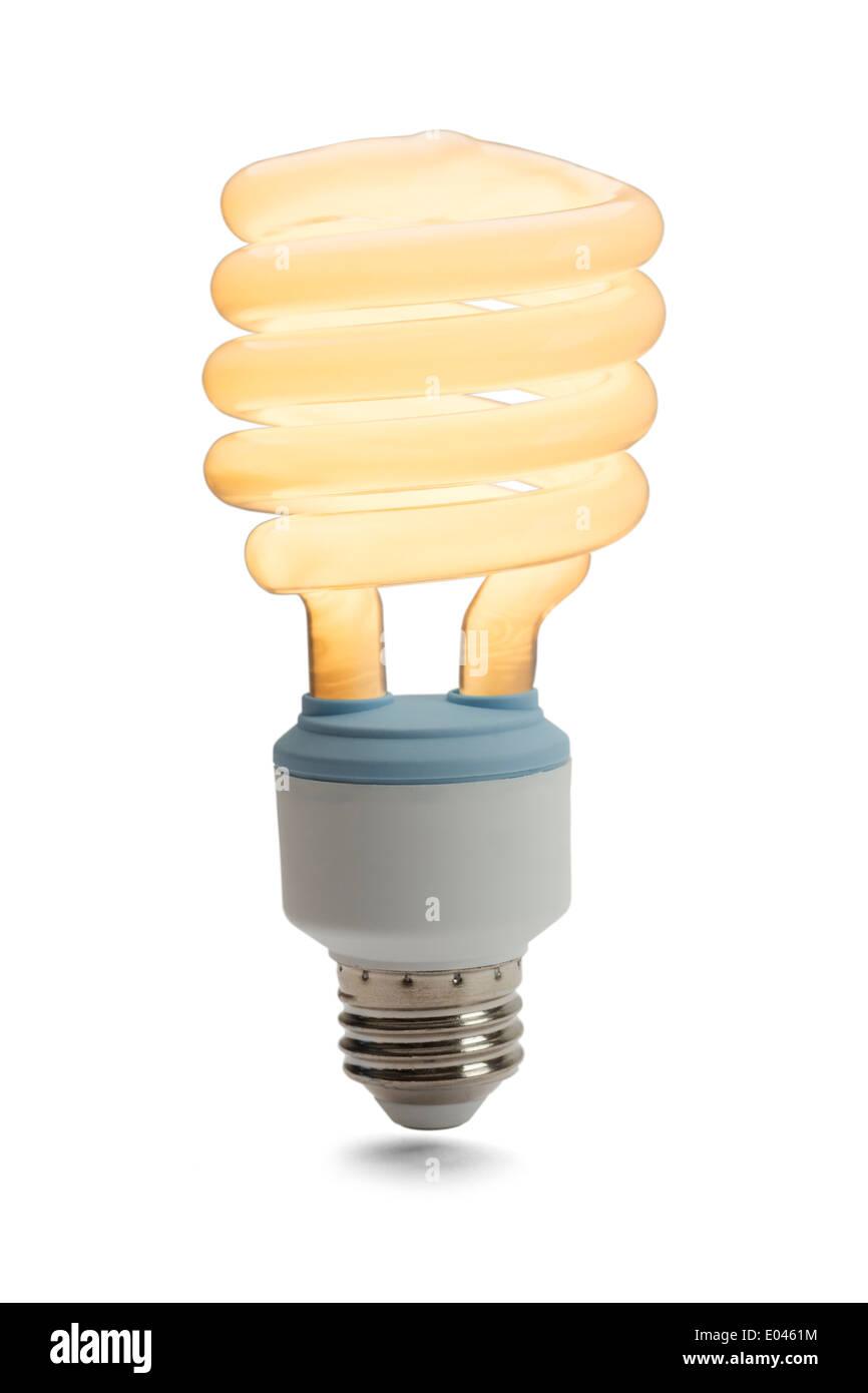 Leuchtstoff Glühlampe auf isoliert auf weißem Hintergrund. Stockbild