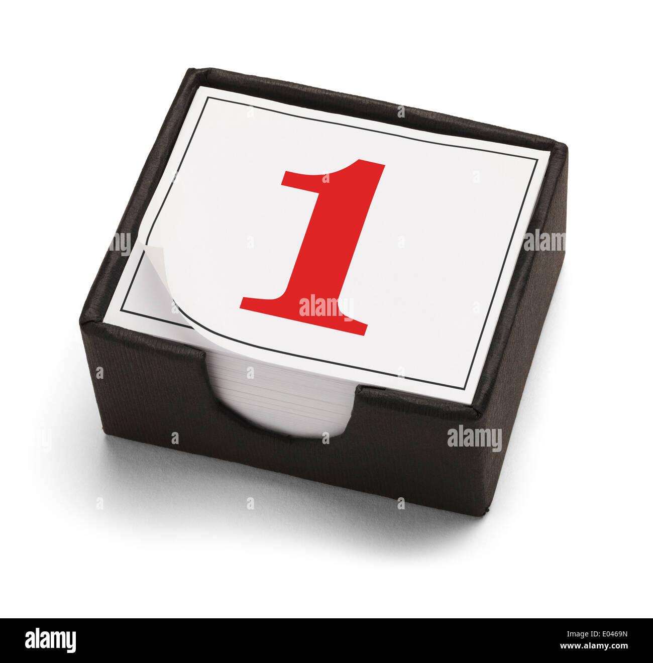 Tischkalender mit Tag eins oder die Nummer 1 in rot auf einem weißen Hintergrund isoliert. Stockbild