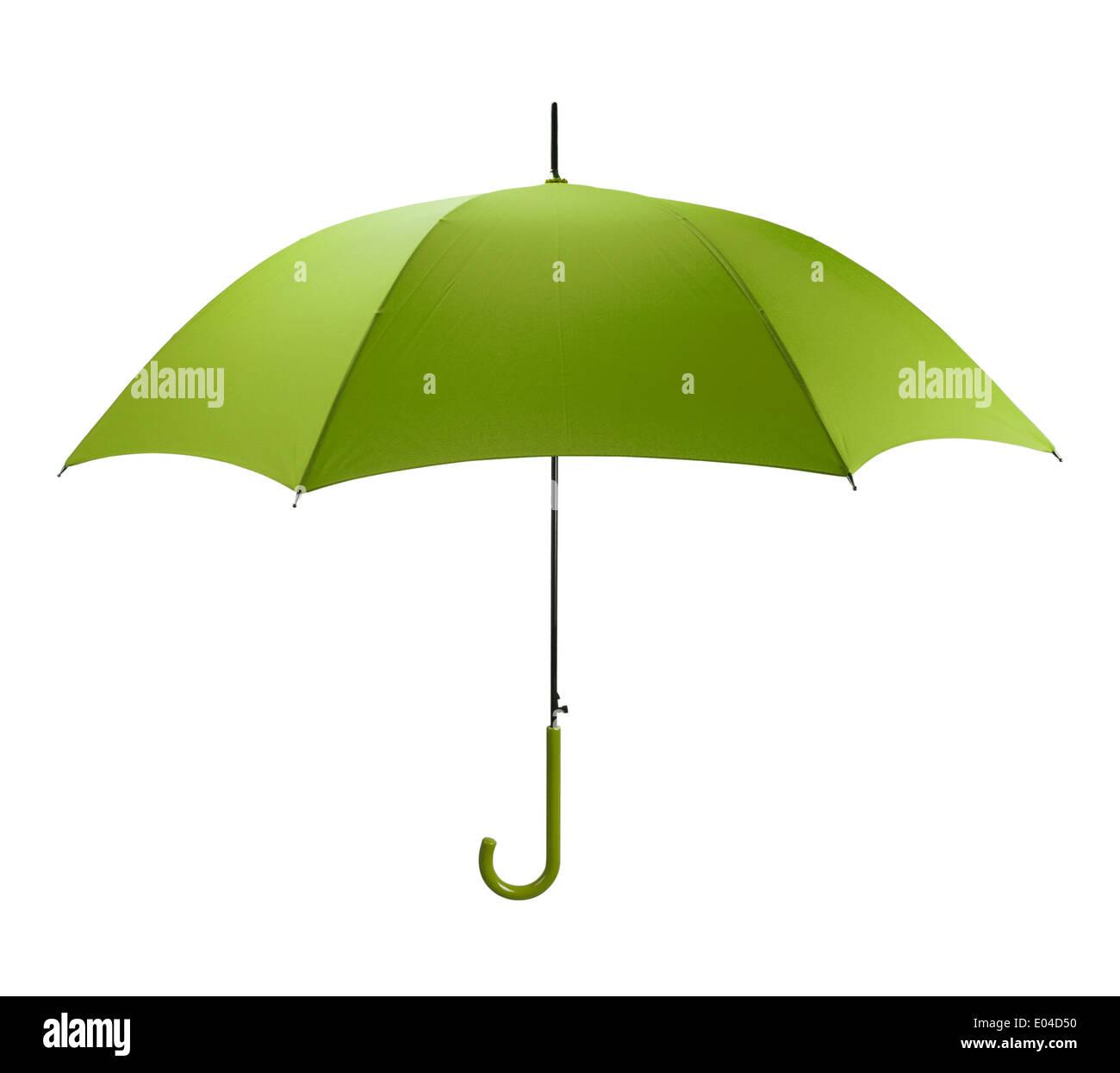 Leuchtend grüne Regenschirm Seitenansicht, Isolated on White Background. Stockbild