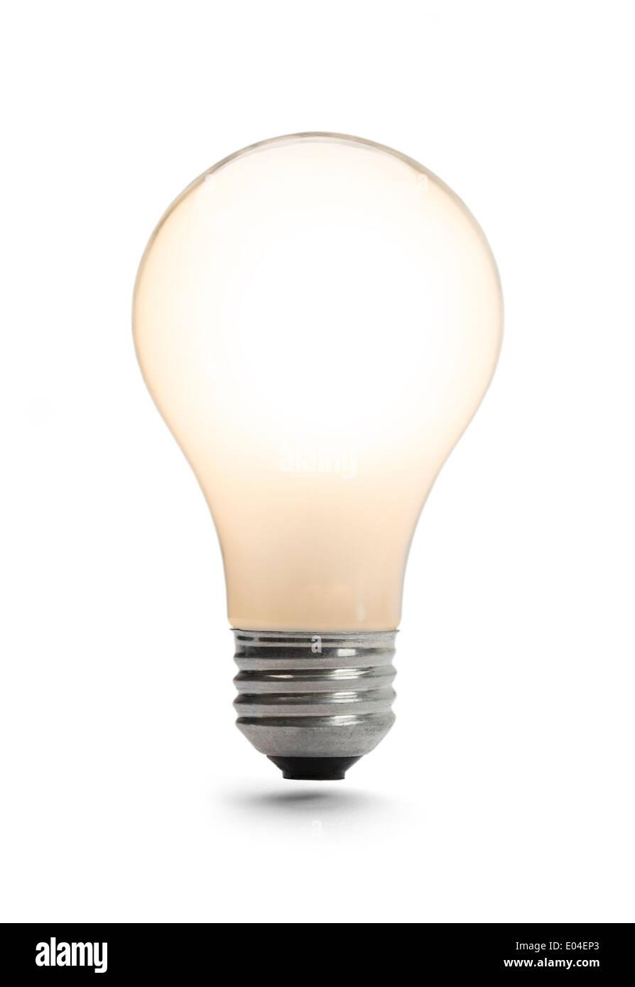 Klassische Glühbirne leuchtet isoliert auf einem weißen Hintergrund. Stockbild
