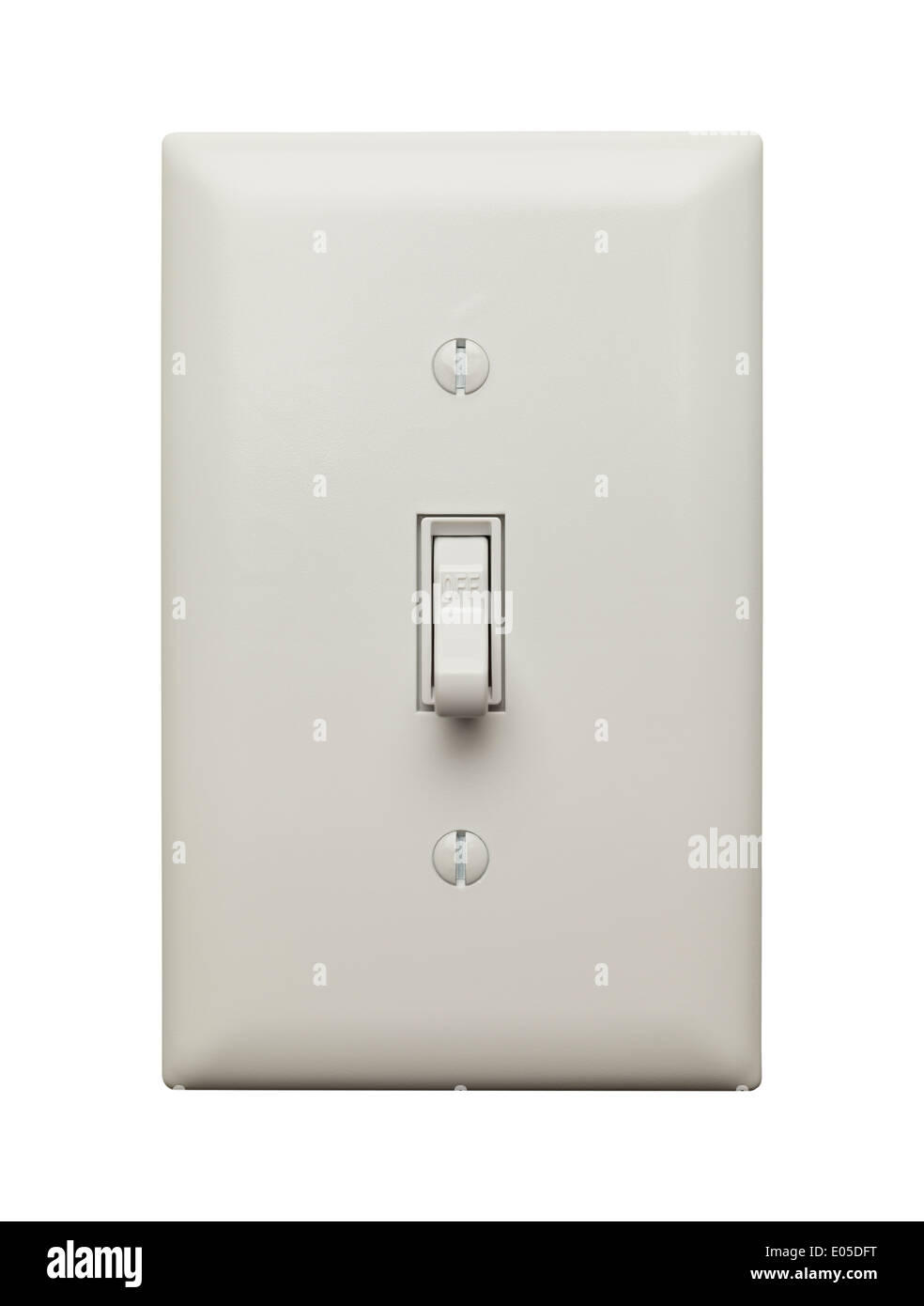 Lichtschalter in der Ausschaltstellung, Isolated on White Background ...