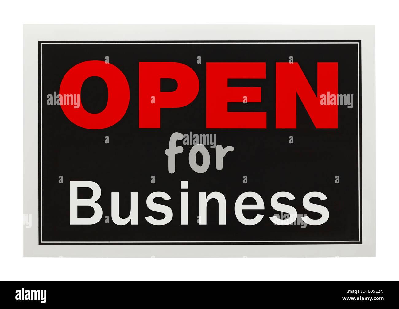 Rote und schwarze geöffnet für Geschäft Zeichen, Isolated on White Background. Stockfoto