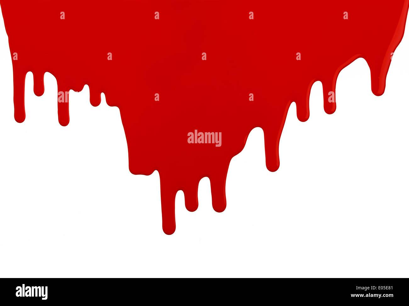 Rote Latex-Farbe ausgeführt, tropfte Wand mit textfreiraum auf weißem Hintergrund. Stockfoto